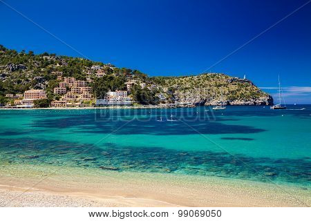 Beautiful Azure Sea In Port De Soller