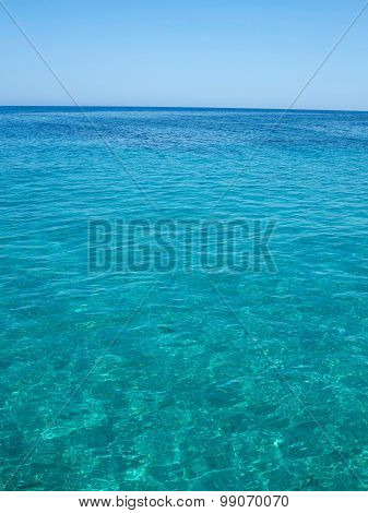 Clear Azure Sea Near Crete Coast, Greece