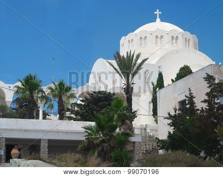 Beautiful Typical Blue Dome Church And Blue Sky On Santorini, Greece