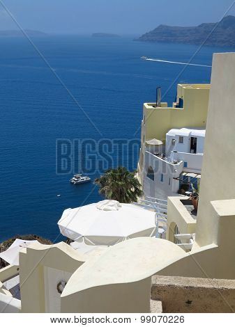 Romantic Beautiful Cityscape And Blue Sky Of Oia On Santorini In Greece.