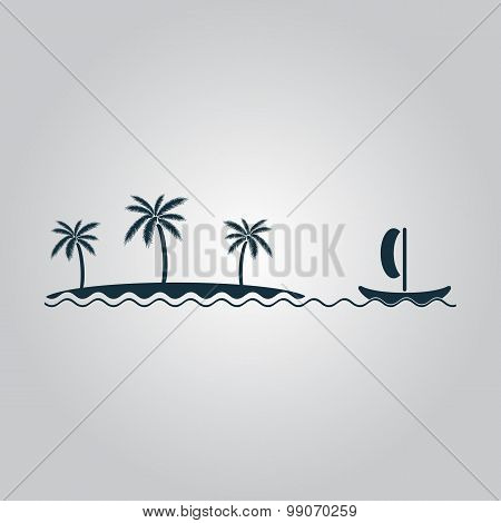 ship sailing near the island with palm trees