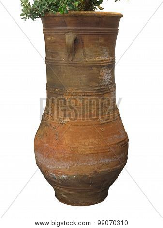 Ancient Clay Minoan Amphora In Crete, Greece