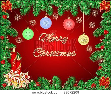 Merry Christmas Frame With A Candlestick Vector