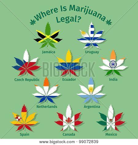 Marijuana leaves with the international flags