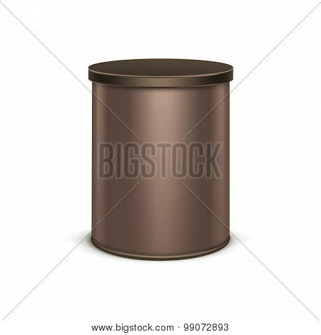 Brown tin box packaging container for tea coffee isolated vector