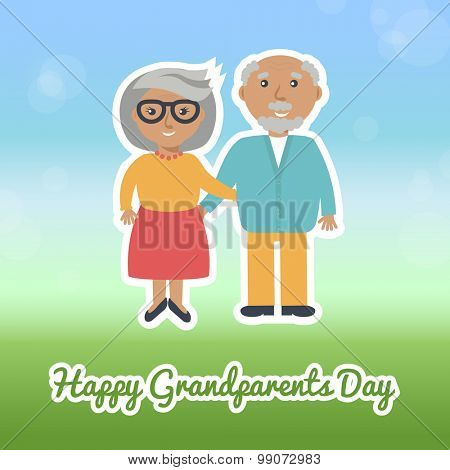 Happy grandparents day card design. Grandmother and grandfather illustration. Vector greeting card.