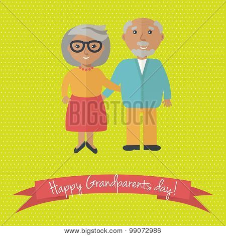 Happy Grandparents day card. Vector illustration of grandmother and grandfather.