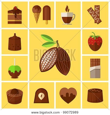 Chocolate sweets, cakes and cocoa bean flat icons