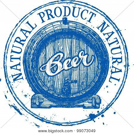 beer, ale vector logo design template. Shabby stamp or boozer, pub, brewery icon