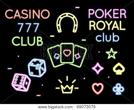 Set vector neon light logos of poker club and casino