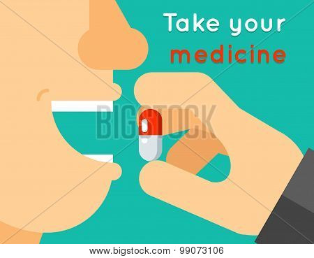 Take your medicine concept. Person puts tablet in mouth