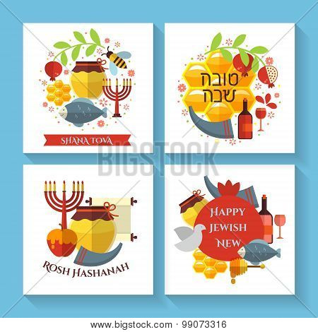 Happy Jewish new year Shana Tova greeting cards