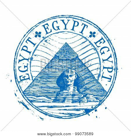 Egypt vector logo design template. Shabby stamp or pyramid, sphinx, desert icon