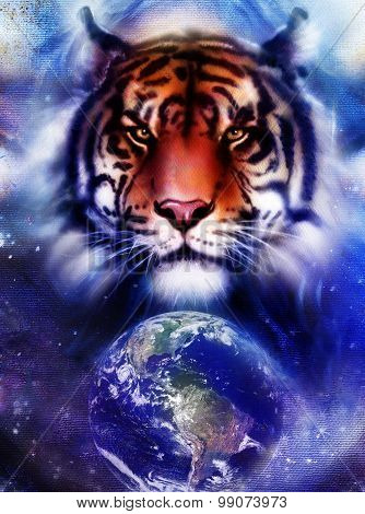 painting  tiger on color cosmic space background, wildlife animals. With Earth and stars.