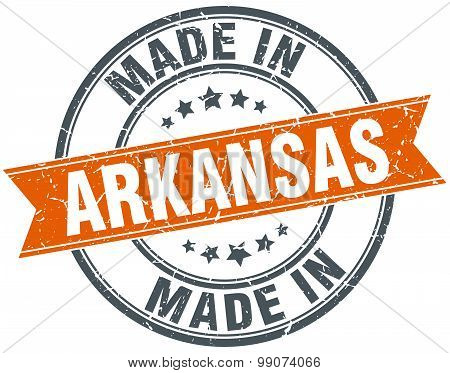 Arkansas Orange Grunge Ribbon Stamp On White