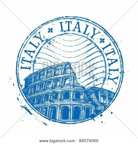 Italy vector logo design template. Shabby stamp or Colosseum, Coliseum icon
