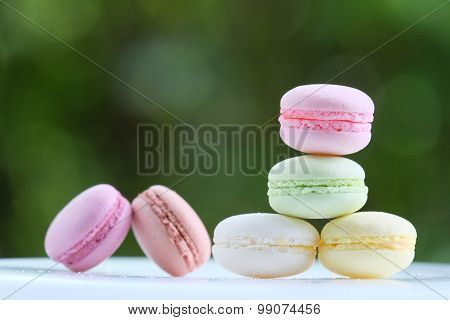 Lovely Pastel Colors Macarons With Green Blur Background