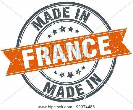France Orange Grunge Ribbon Stamp On White