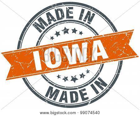 Iowa Orange Grunge Ribbon Stamp On White