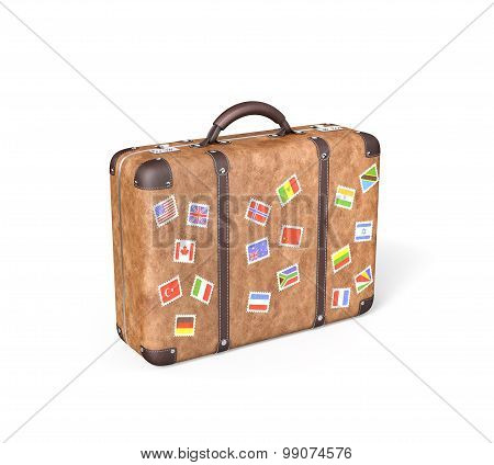 Travel Suitcase With Flag Stickers