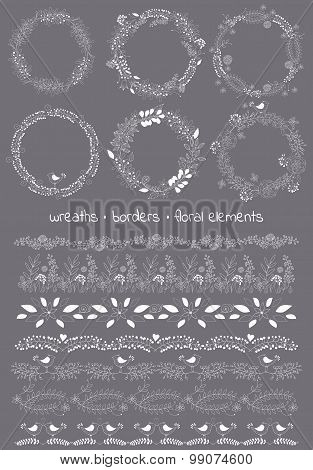 Vector design toolkit includes: 6wreaths,7borders and individual floral elements.