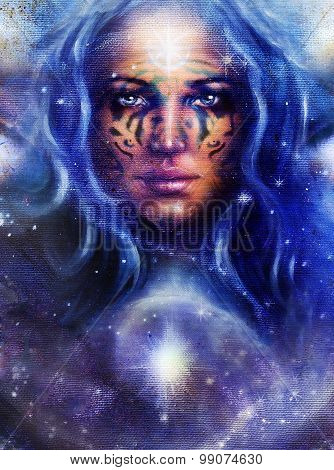 Goddess Woman with tattoo on face in space with light stars.
