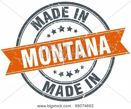 Montana Orange Grunge Ribbon Stamp On White