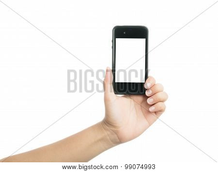 Woman Hand Holding Black Smart Phone With Blank Screen