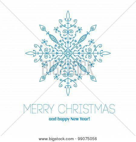 Christmas Card With Hand Drawn Snowflake