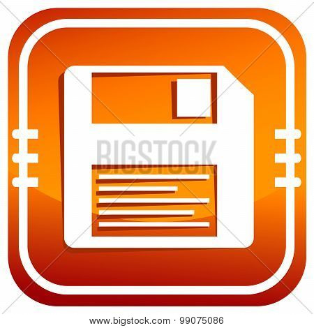 A Orange Vector Icon With Diskette Inside
