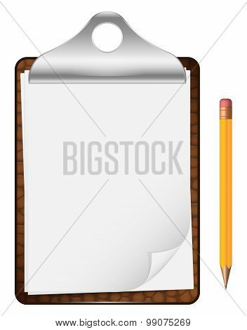 Blank Clipboard With Pencil. Vector Icon