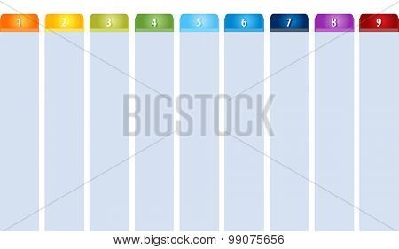 Blank business strategy concept infographic diagram illustration Tab Items Nine
