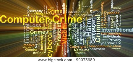 Background concept wordcloud illustration of computer crime glowing light