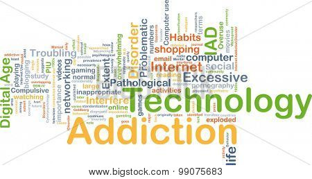 Background concept wordcloud illustration of technology addiction