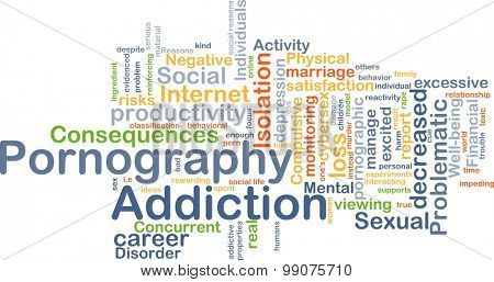 Background concept wordcloud illustration of pornography addiction