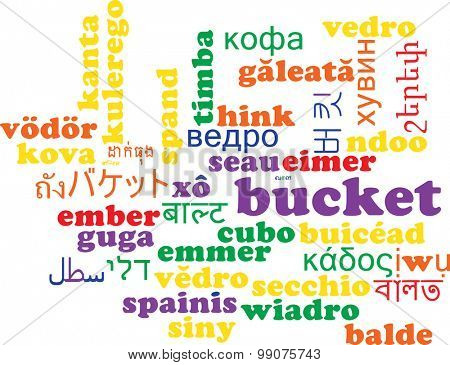 Background concept wordcloud multilanguage international many language illustration of bucket