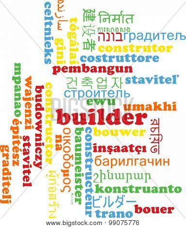 Background concept wordcloud multilanguage international many language illustration of builder