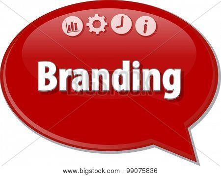 Speech bubble dialog illustration of business term saying Branding