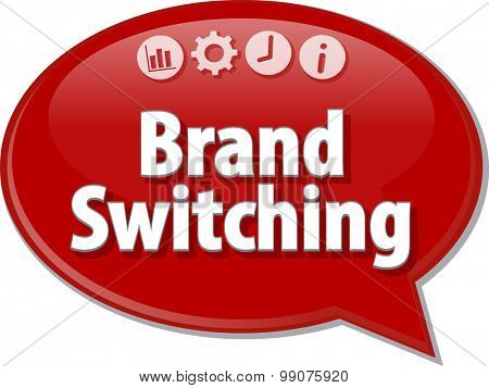 Speech bubble dialog illustration of business term saying Brand Switching