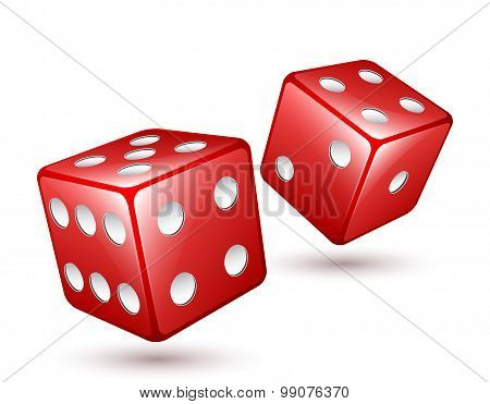 Two Red Dices Vector Illustration