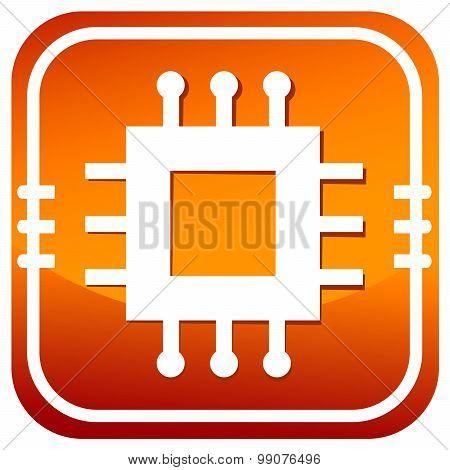Electronic Chip Orange Icon