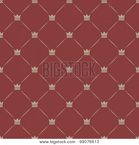 Seamless diamond shaped crown vector background.