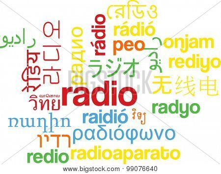 Background concept wordcloud multilanguage international many language illustration of radio