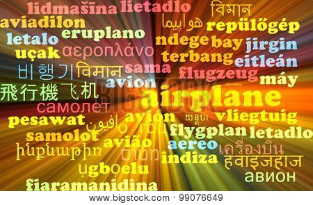 Background concept wordcloud multilanguage international many language illustration of airplane glowing light