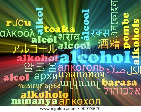 Background concept wordcloud multilanguage international many language illustration of alcohol glowing light