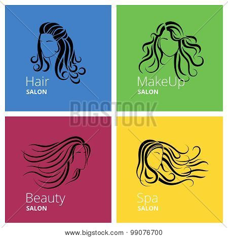 Beauty salon logo set