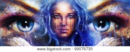 Goddess Woman in space with light stars.