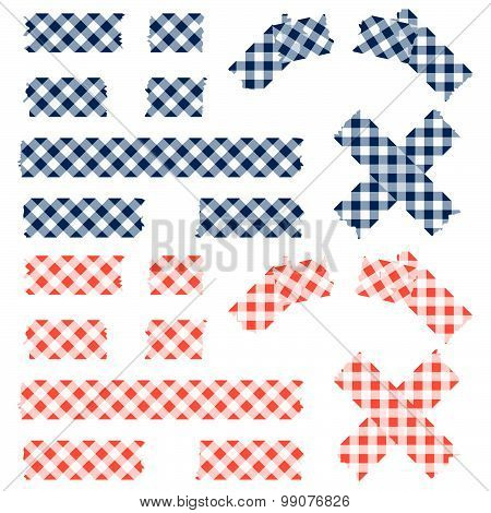 Tape Checkered Pattern - Blue And Red