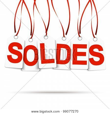 Six White Hangtags With Soldes