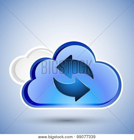 Cloud Computing Refresh Icon, Vector Illustration